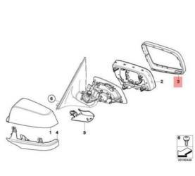 BMW 5 F10/11 - 5 GT F07 - 6 F08/F12/F13 - 6 GC F08/F12/F13 - 7 F01/F02 jobb tükör keret