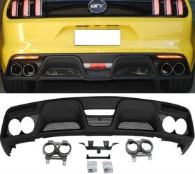 Ford Mustang 2015-2018 Hátsó lökhárító spoiler + kipufogó végek Shelby GT350 Style
